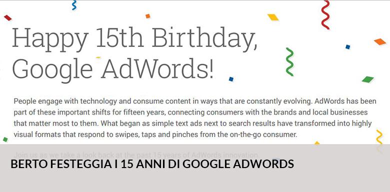 BertO festeggia 15 anni con google