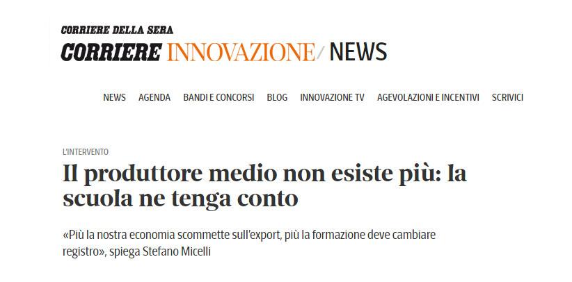 L'articolo di Stefano Micelli per Corriere Innovazione