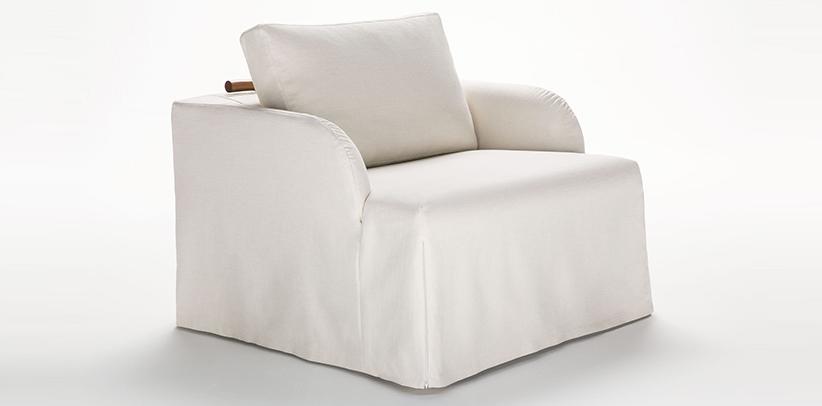 poltrona trasformabile in letto flora sfoderabile in pelle o tessuto