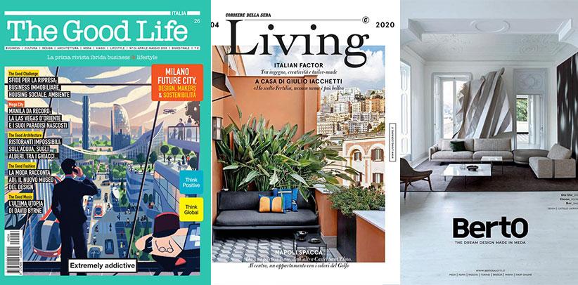 il divano dee dee di berto sulle riviste the good life e living