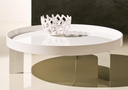 Tavolino da salotto rotondo con base in ferro Vidor - Berto Salotti