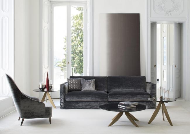 divano in velluto danton berto salotti