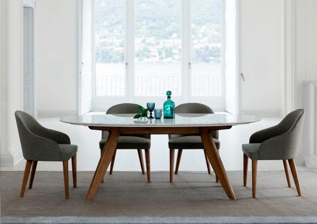 Tavolo ring con piano in marmo berto salotti - Tavolo ovale marmo bianco ...