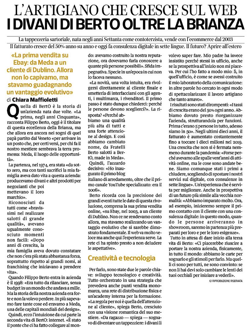 BertO cresce del 50% ogni anno (anche in tempi di pandemia): l'articolo sul Corriere della Sera