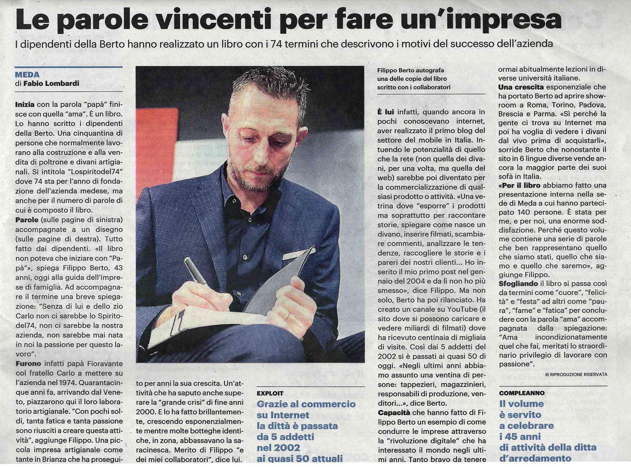 Filippo Berto sul quotidiano Il Giorno