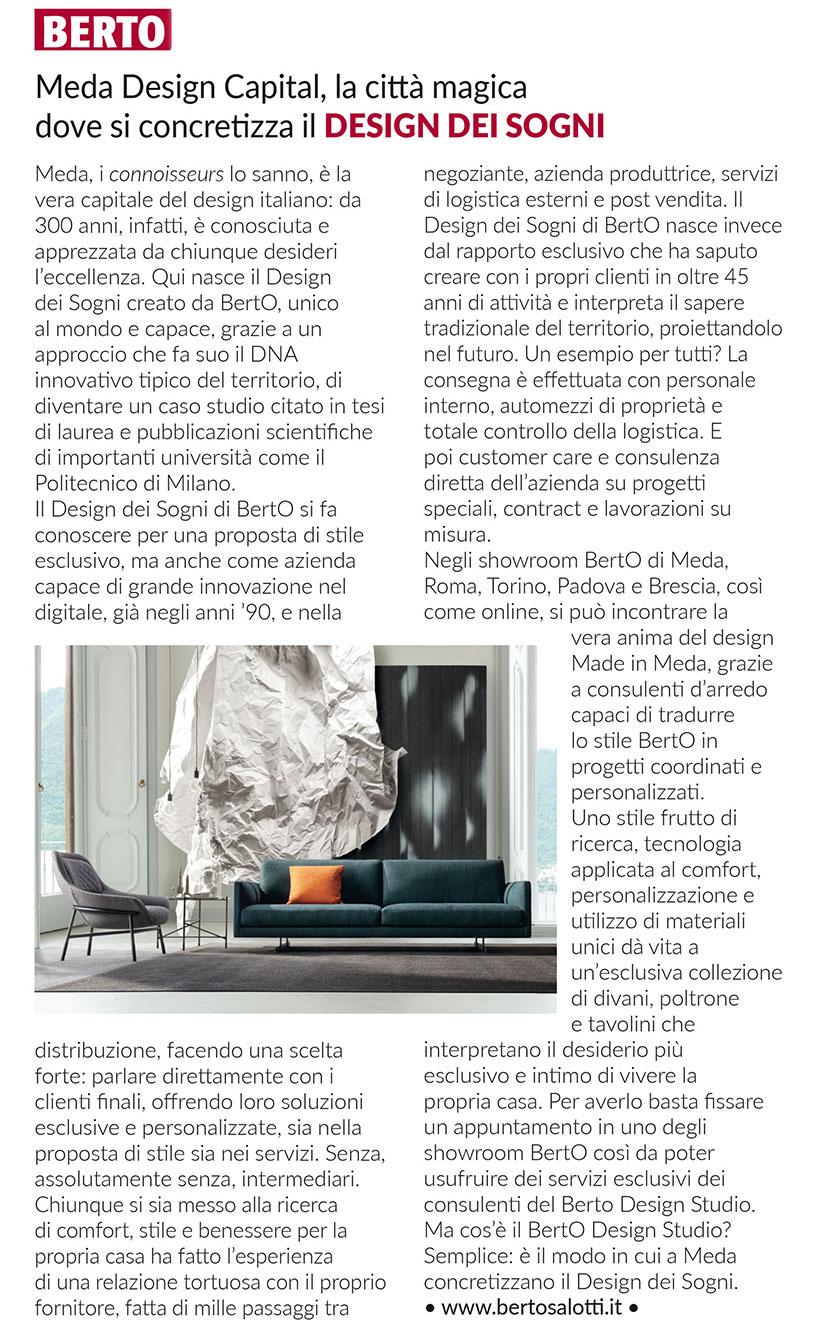 BertO sul Corriere della Sera inserto Milano con il servizio BertO Design Studio