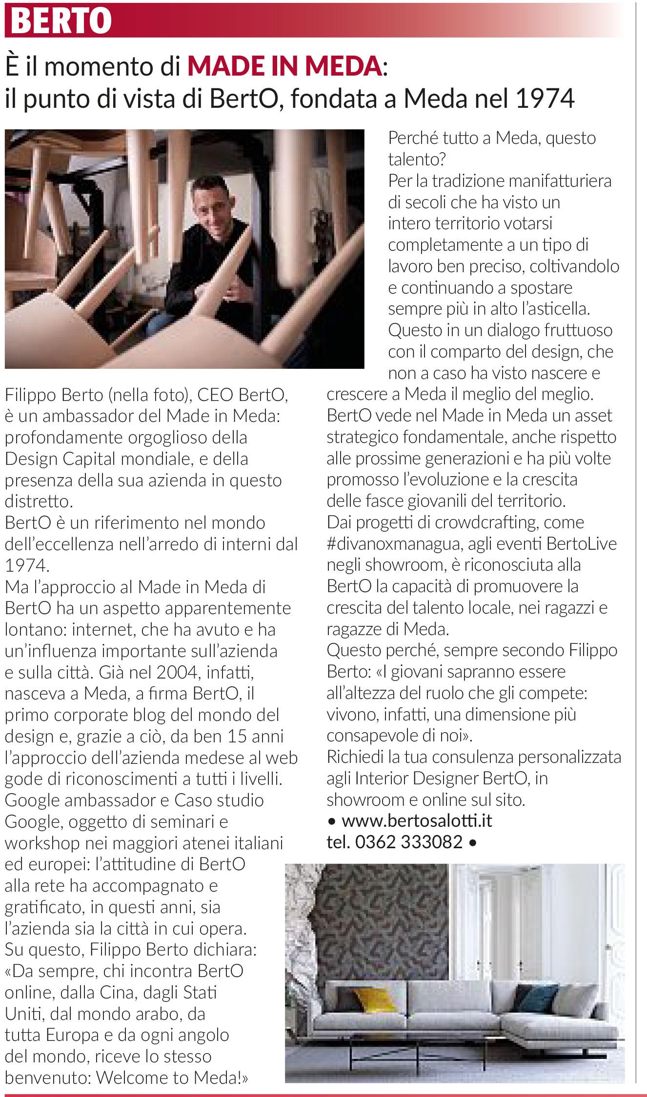 Filippo Berto racconta il design dei sogni made in Meda di BertO sul Corriere della Sera