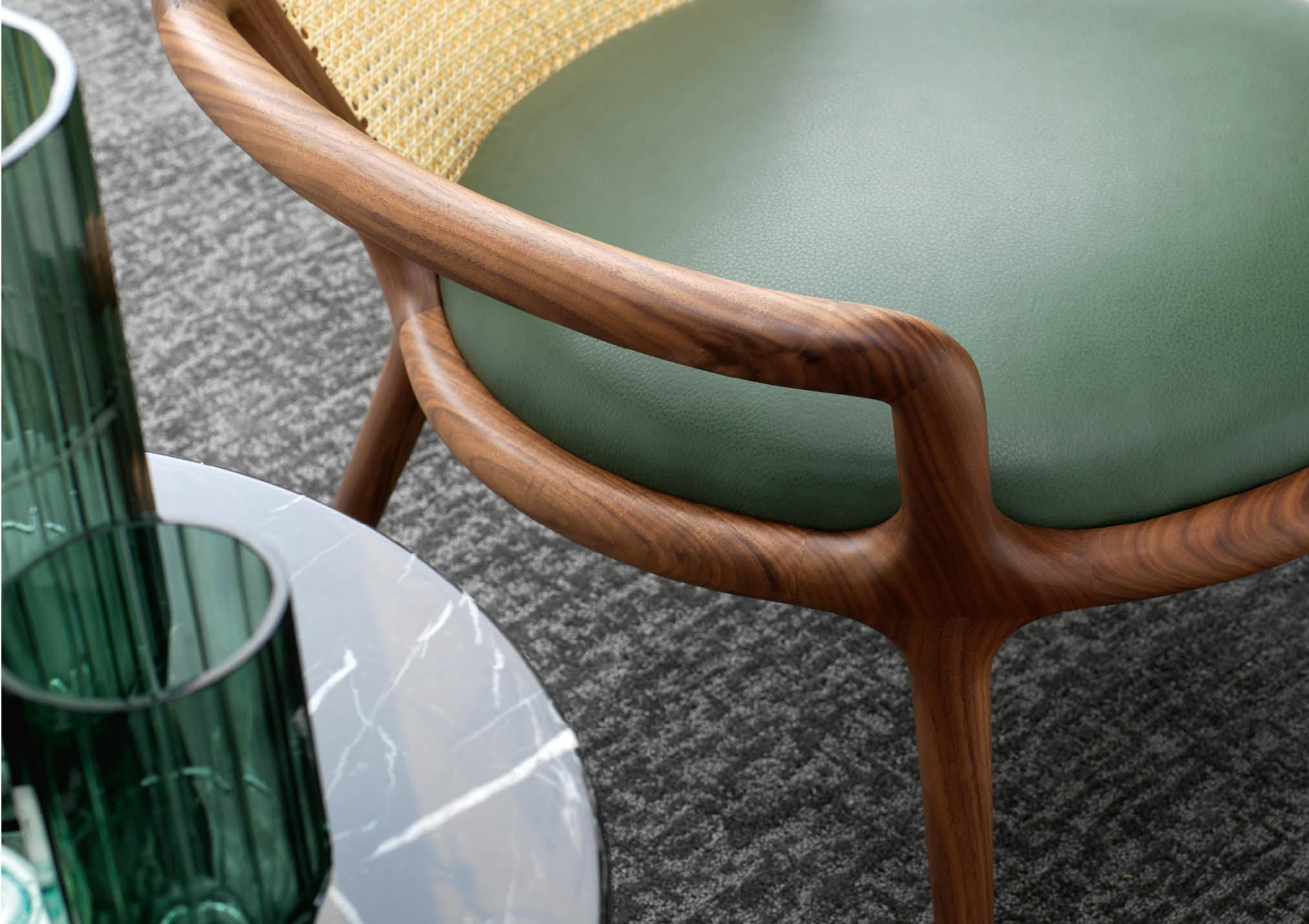 Dettaglio della seduta della poltrona Patti