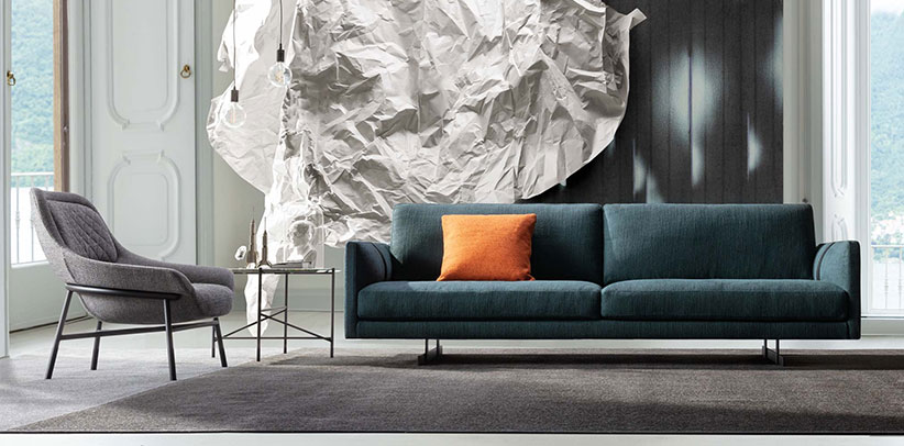 Dee Dee linear sofa by BertO upholstered in fabric