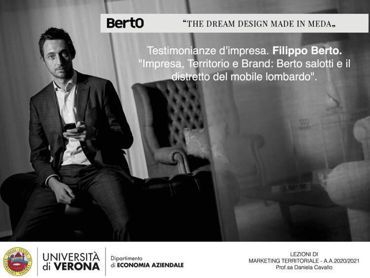 Filippo Berto habla del Made in Meda en el curso de Marketing Territorial de la Universidad de Verona