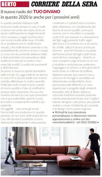 Design BertO: il ruolo del divano nel 2020 raccontato sul Corriere della Sera