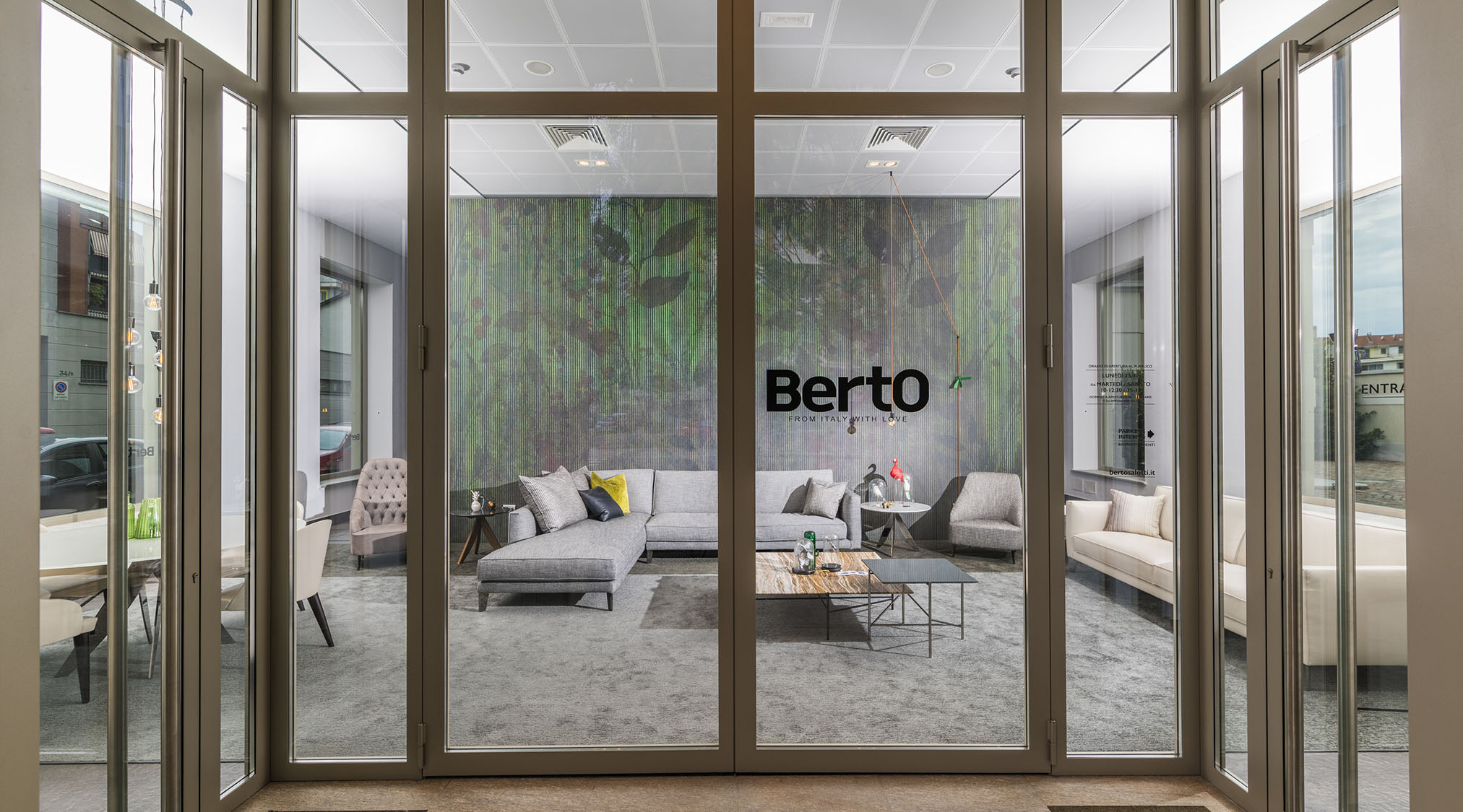 Berto Salotti Turin showroom entrance