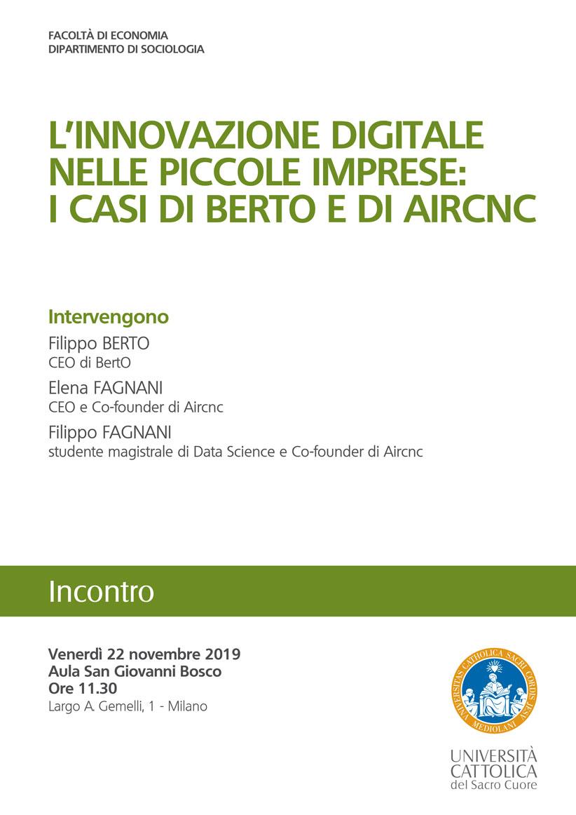 Innovazione digitale nelle PMI: i casi BertO e Aircnc locandina evento