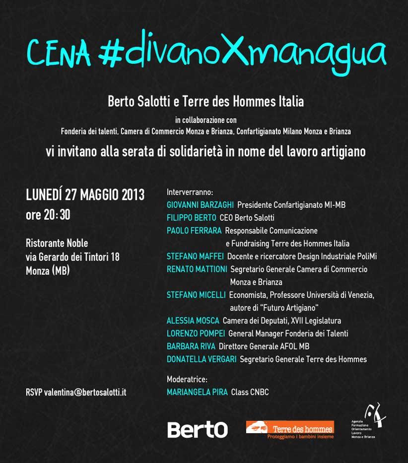 Invito per la cena solidale del #DivanoxManagua