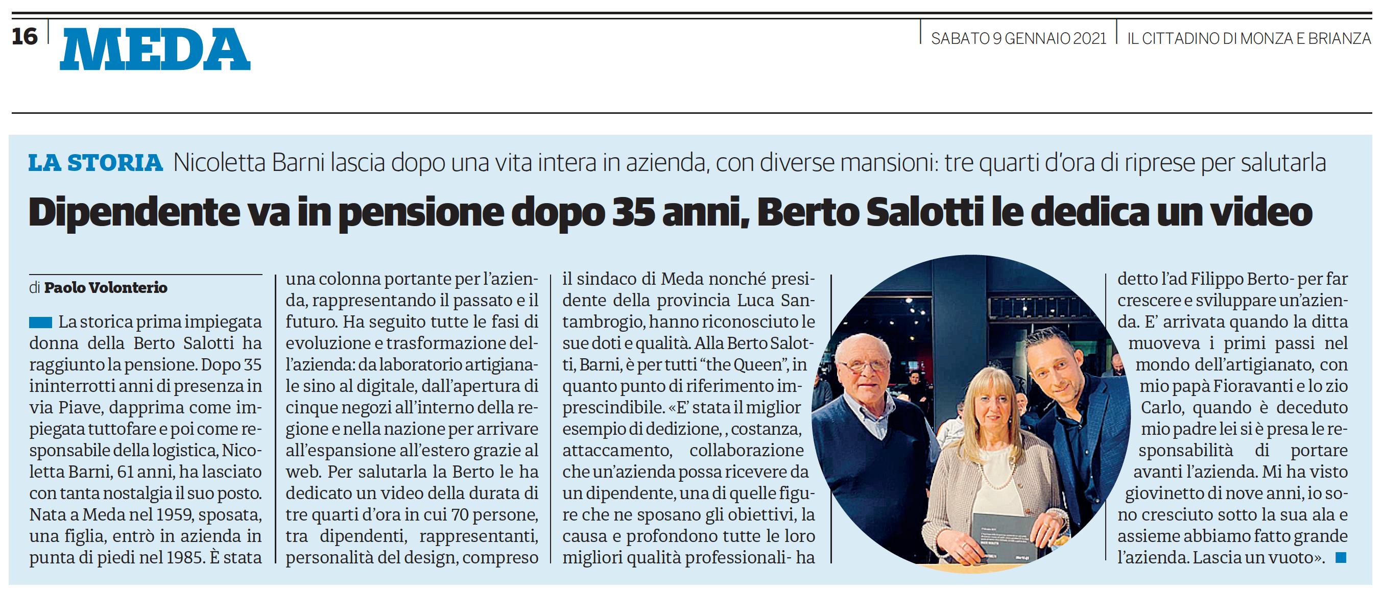 Nicoletta Barni storica dipendente della BertO