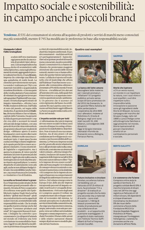 Projet solidaire BertO 5% - Article Il Sole 24 Ore