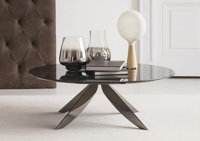 Tavolino rotondo da salotto con piano in marmo marquinia Circus