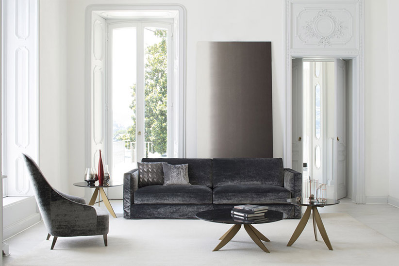Danton velvet sofa and Vanessa Armchair